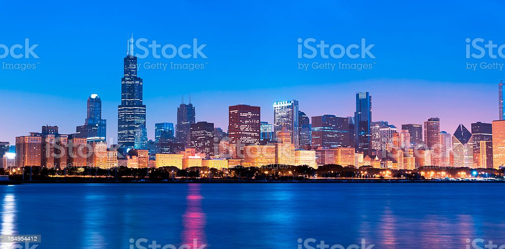 Chicago skyline by nigh stock photo