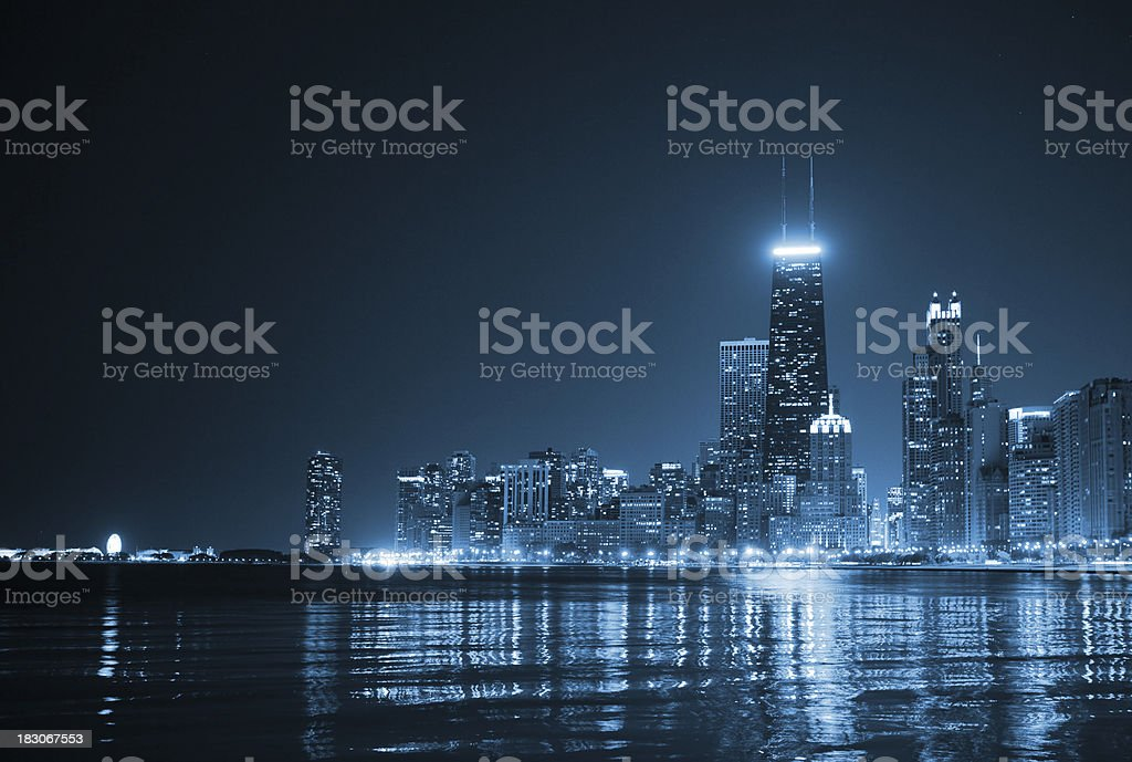 Chicago Skyline by night stock photo