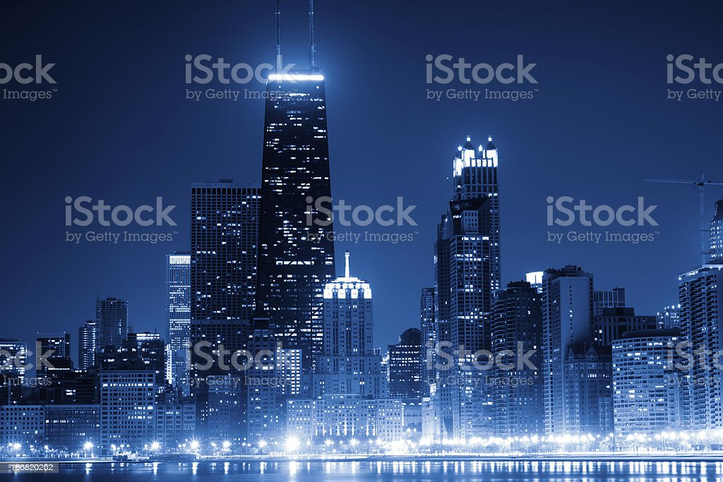 Chicago skyline by night stock photo