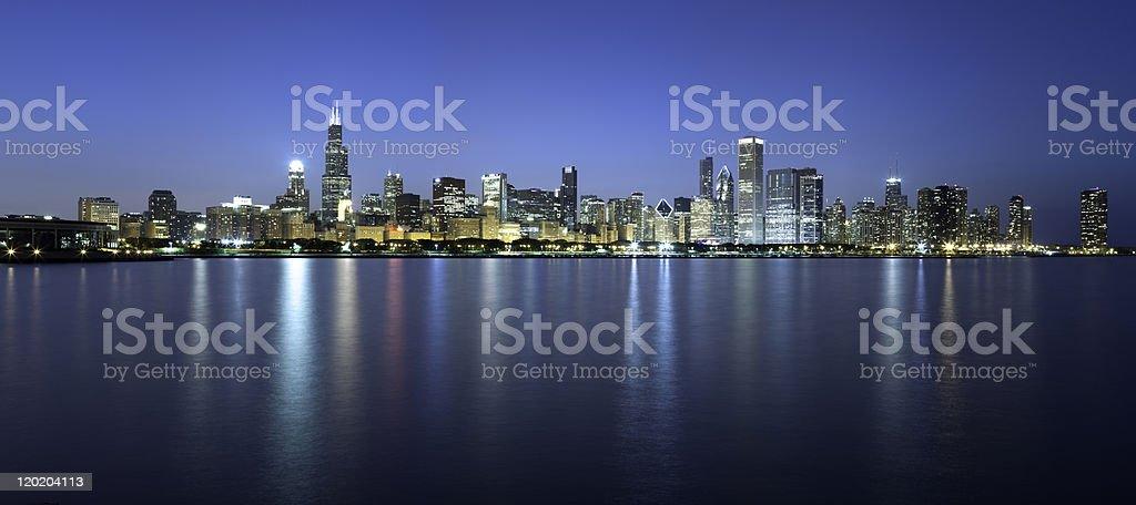 Chicago Skyline Dusk Panorama royalty-free stock photo