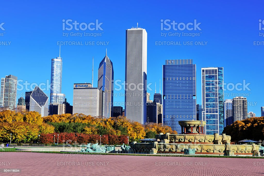 Chicago skyline from Buckingham Fountain in Grant Park stock photo