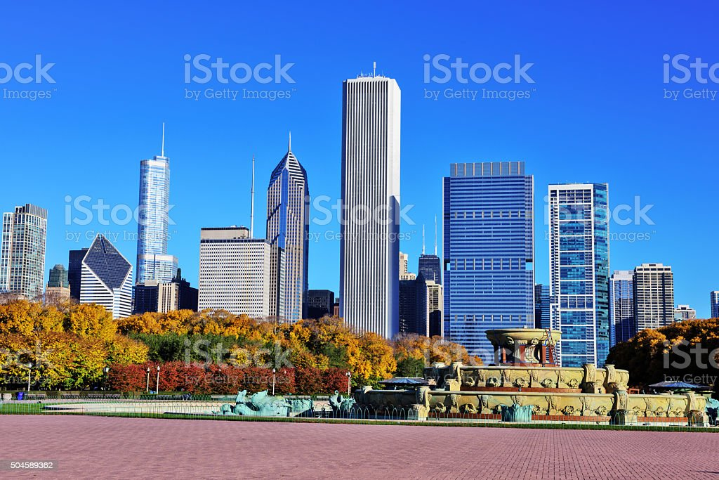 Chicago skyline from Buckingham Fountain in Grant Park stock photo