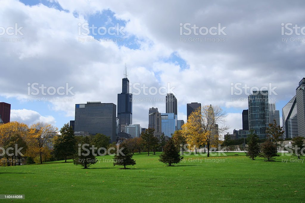 chicago skyline from Grant park stock photo