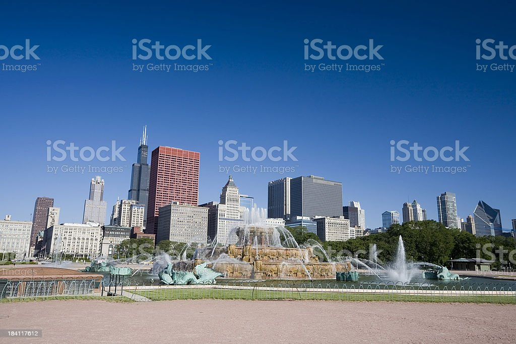 Chicago Skyline from Grant Park royalty-free stock photo
