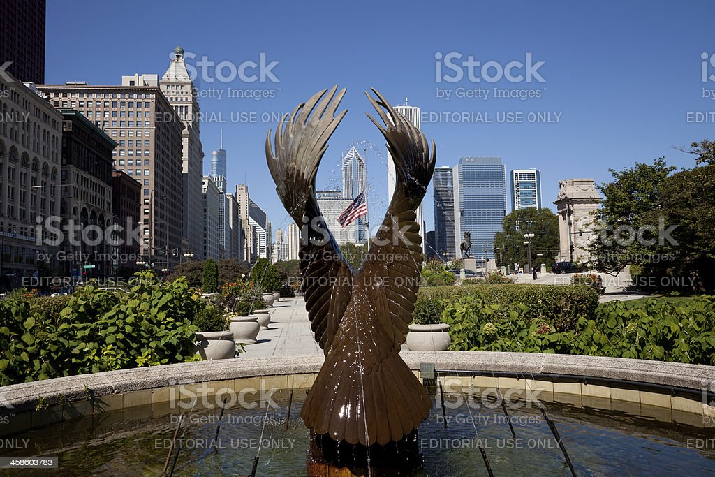 Chicago skyline from Michigan Avenue stock photo
