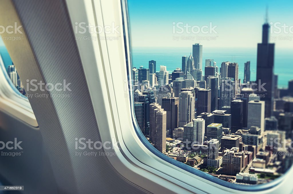 chicago skyline from the porthole stock photo