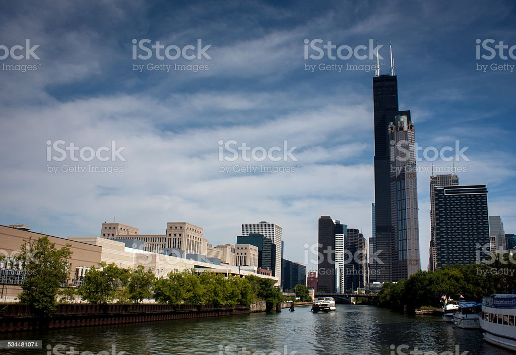 Chicago skyline from the river stock photo