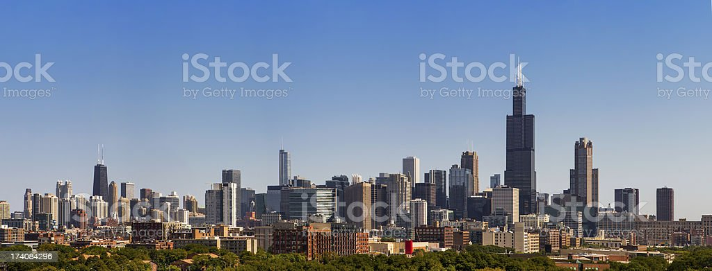 chicago skyline from west in afternoon pano stock photo
