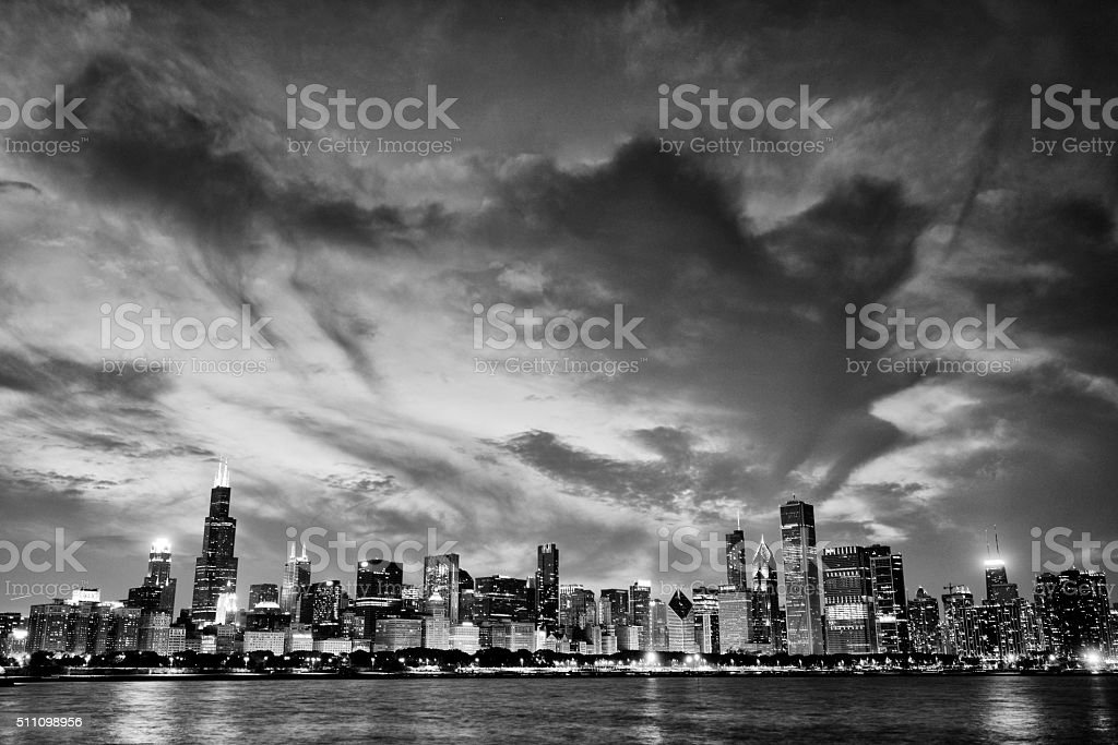 Chicago skyline in Black and White stock photo