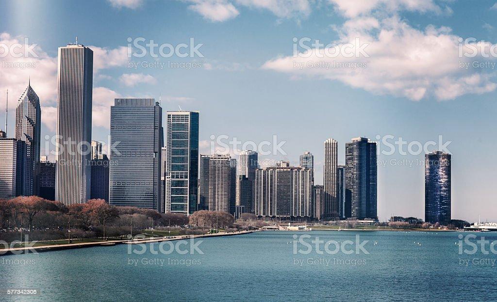 Chicago skyline in sunny spring day stock photo