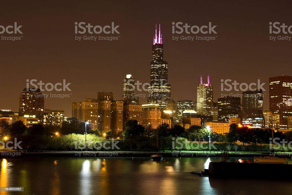 Chicago Skyline in the night with Sears Tower stock photo