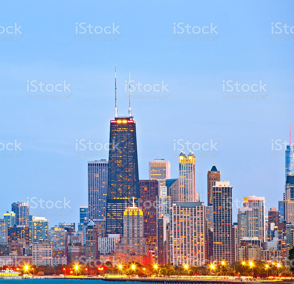 Chicago skyline of downtown buildings stock photo