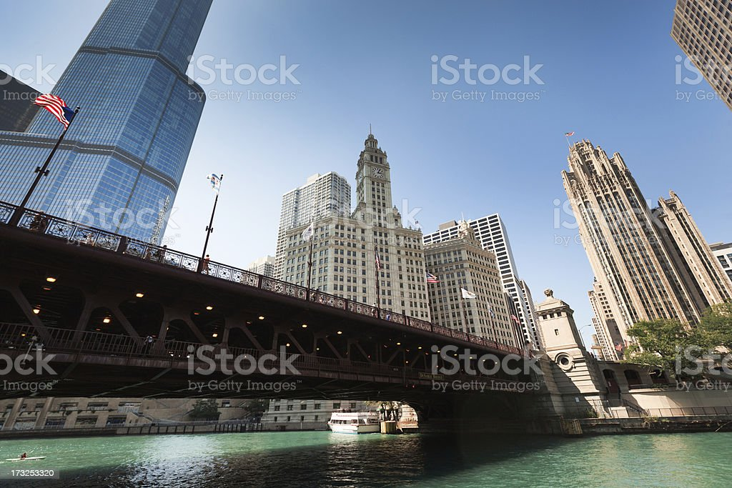 Chicago Skyline of the Loop from River Front Hz royalty-free stock photo
