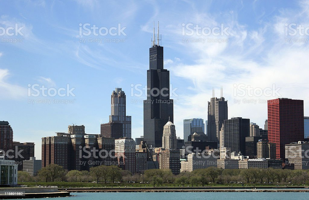 Chicago skyline on a clear day royalty-free stock photo