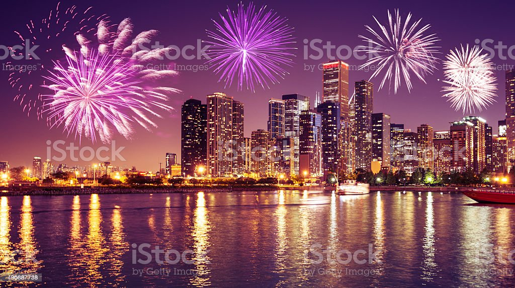 Chicago skyline on the night for the new year stock photo