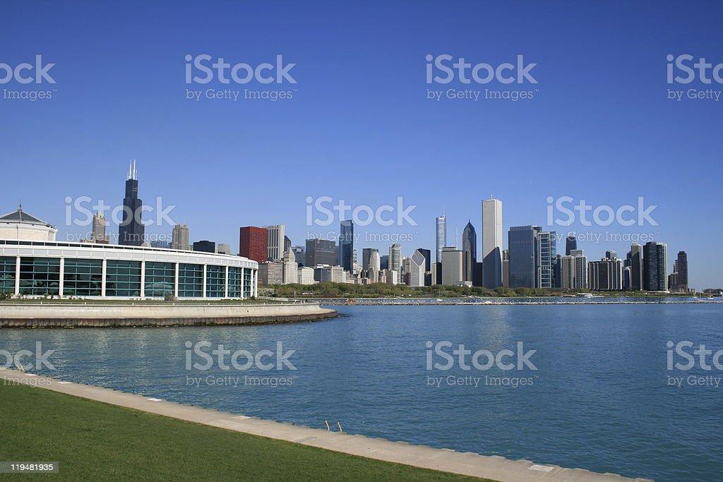 Chicago Skyline Over Lake Michigan stock photo