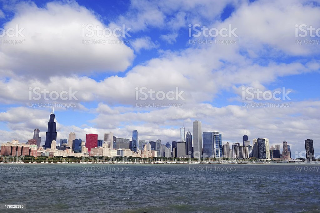 Chicago skyline over Lake Michigan stock photo