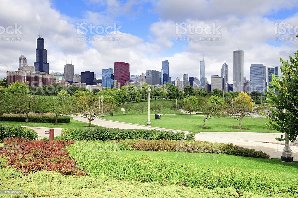 Chicago skyline over park royalty-free stock photo