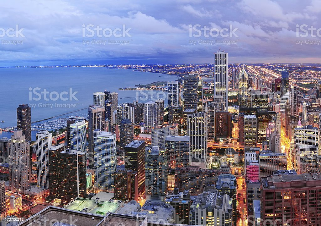 Chicago skyline panorama aerial view royalty-free stock photo