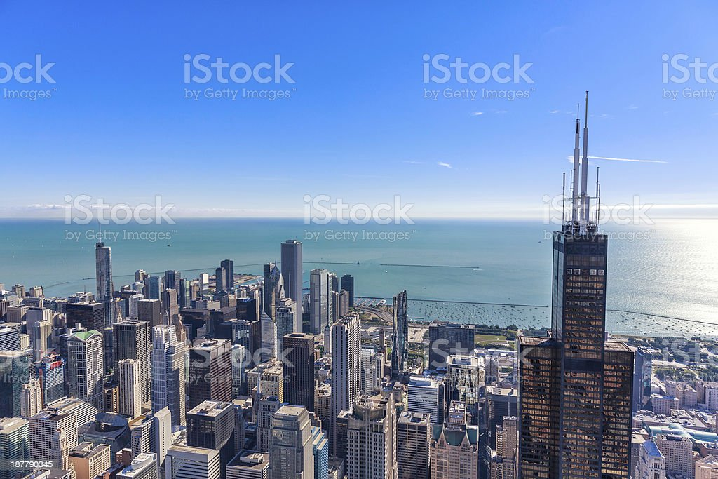 Chicago skyline panorama aerial view stock photo