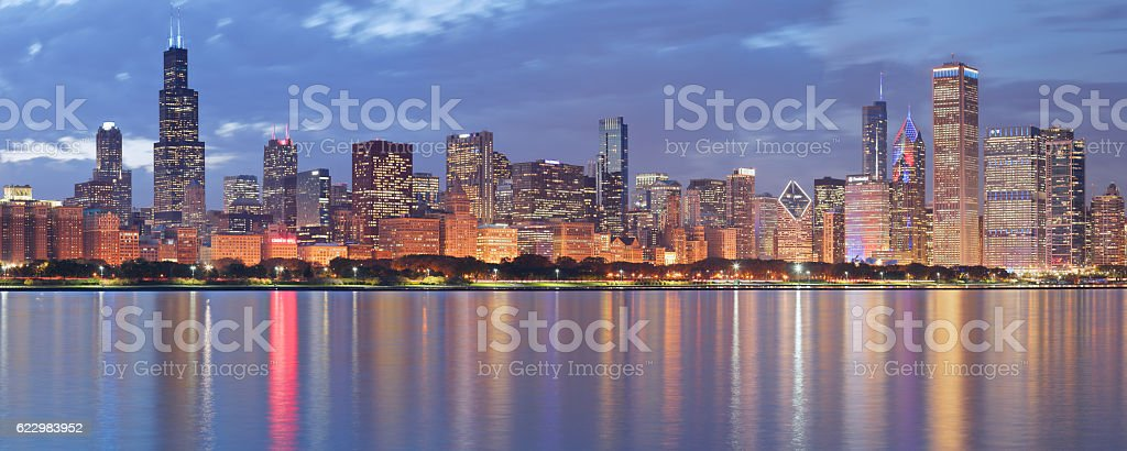 Chicago Skyline Panorama at Night stock photo