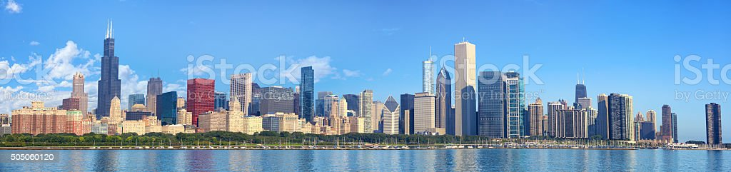 Chicago skyline panorama stock photo
