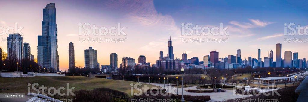 Chicago skyline panorama stock photo