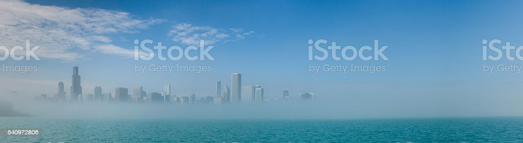 Chicago skyline panorama with skyscrapers over Lake Michigan wit stock photo
