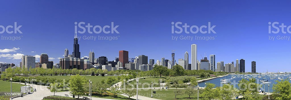 Chicago Skyline Park Panorama stock photo