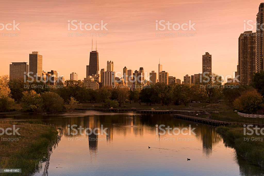 Chicago skyline seen from Lincoln Park stock photo