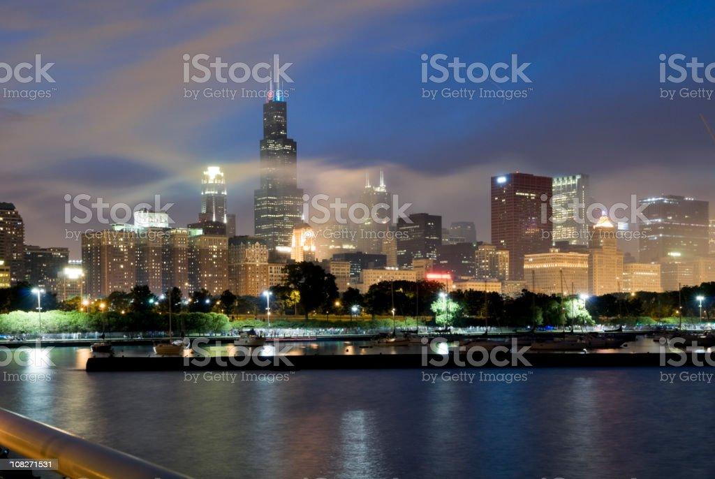 Chicago Skyline Shrouded in Smoke stock photo