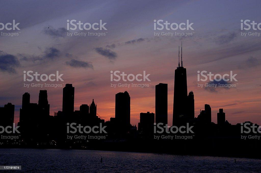 Chicago Skyline Silhouette stock photo