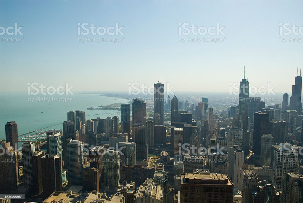 Chicago Skyline Skyscraper from above royalty-free stock photo