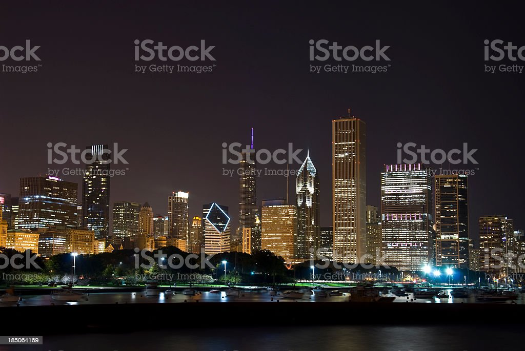 Chicago Skyline - Skyscrapers in the night stock photo