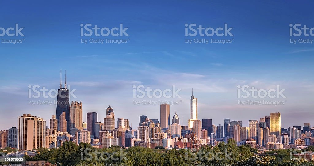 Chicago skyline sunset panorama stock photo