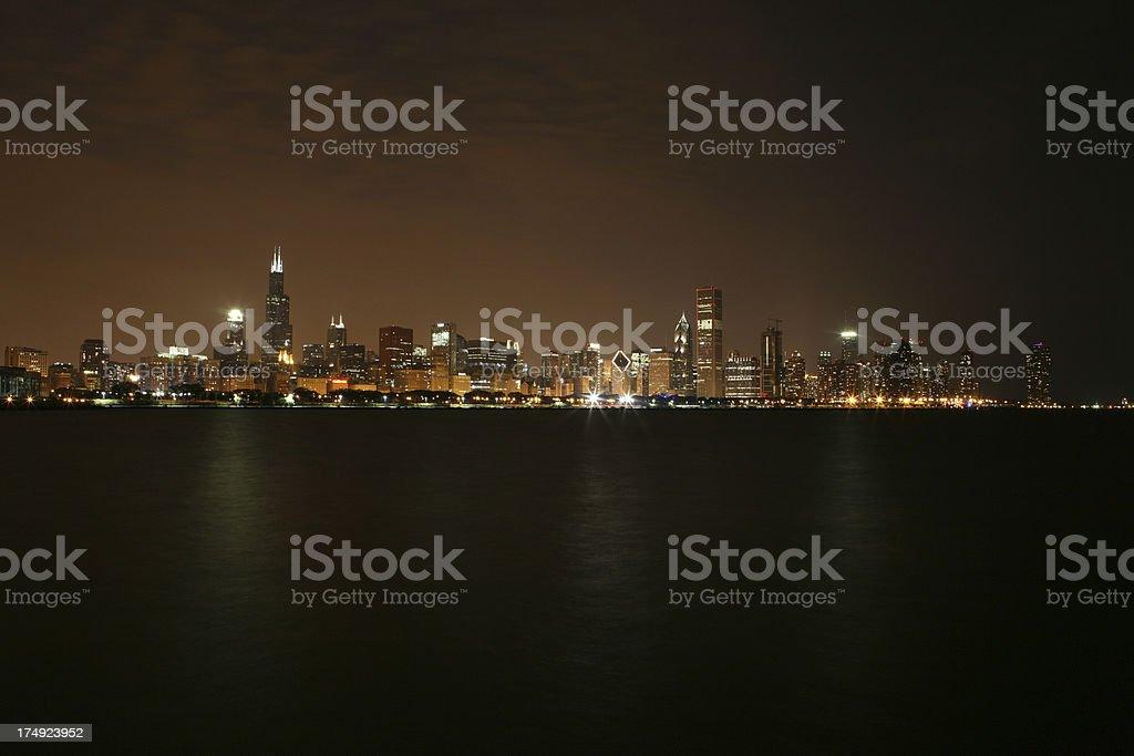 Chicago Skyline under cloudy night stock photo