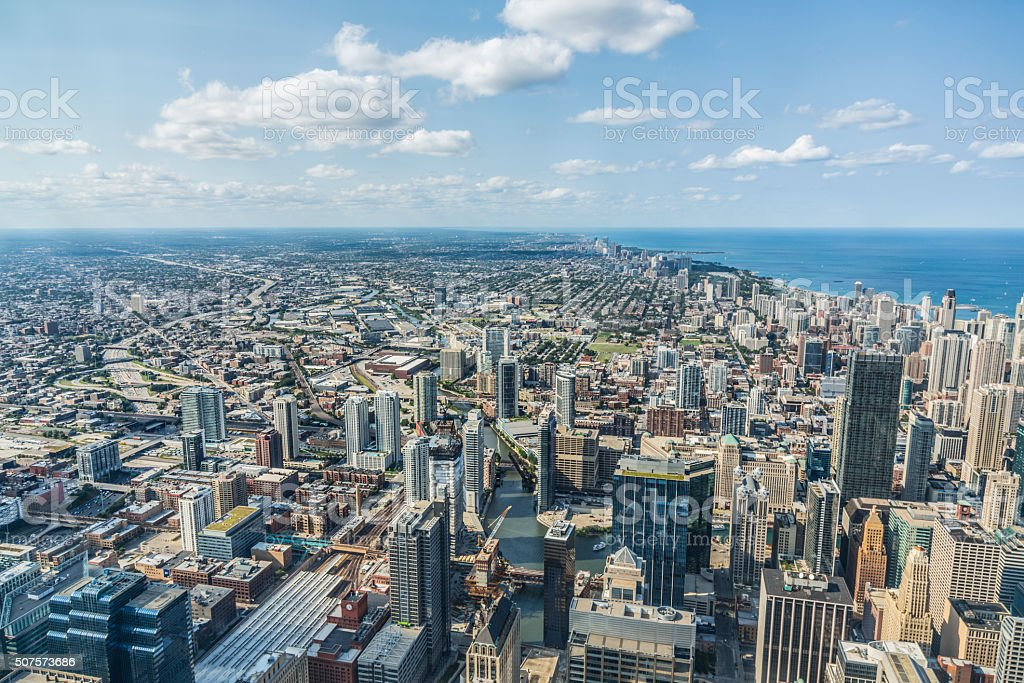 Chicago skyline, USA, Illinois stock photo
