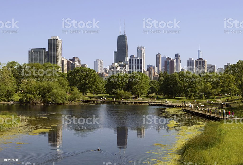 Chicago skyline –view from Lincoln Park stock photo