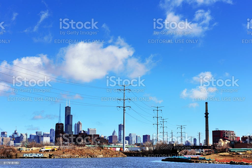 Chicago skyline viewed from industrial Sanitary and Ship Canal stock photo