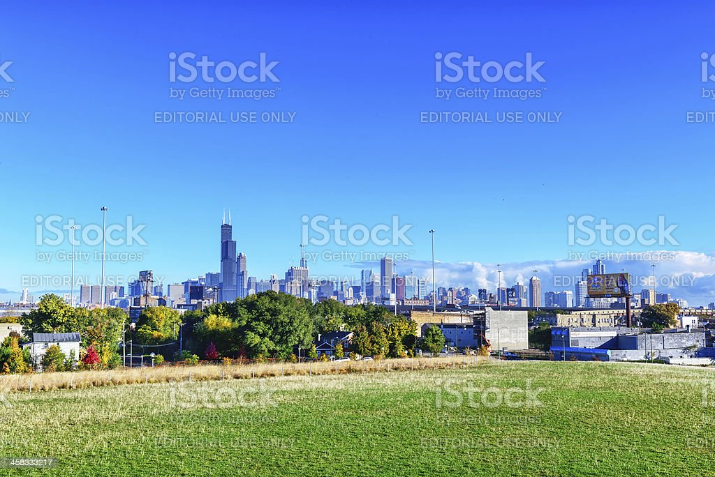 Chicago skyline viewed from   Palmisano Park stock photo