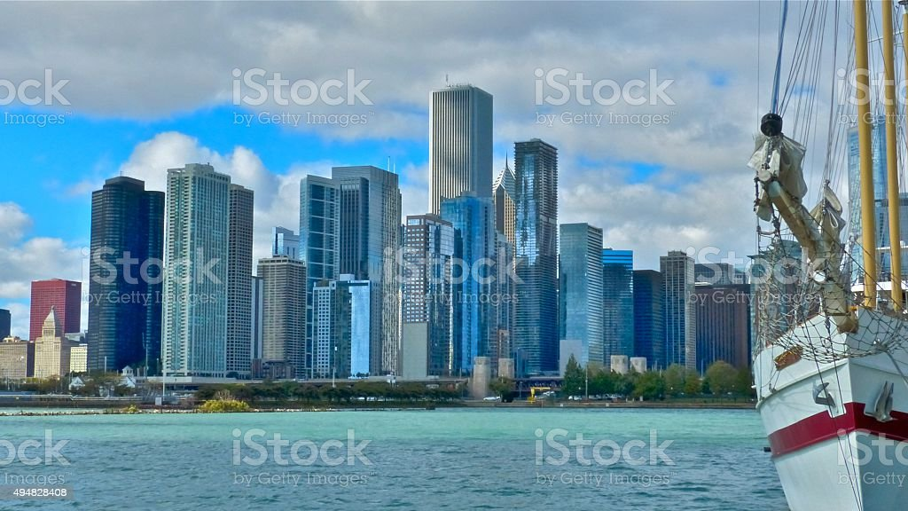 Chicago -Skyline vu de Navy Pier stock photo