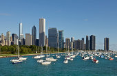 Chicago Skyline with boats on Lake Michigan