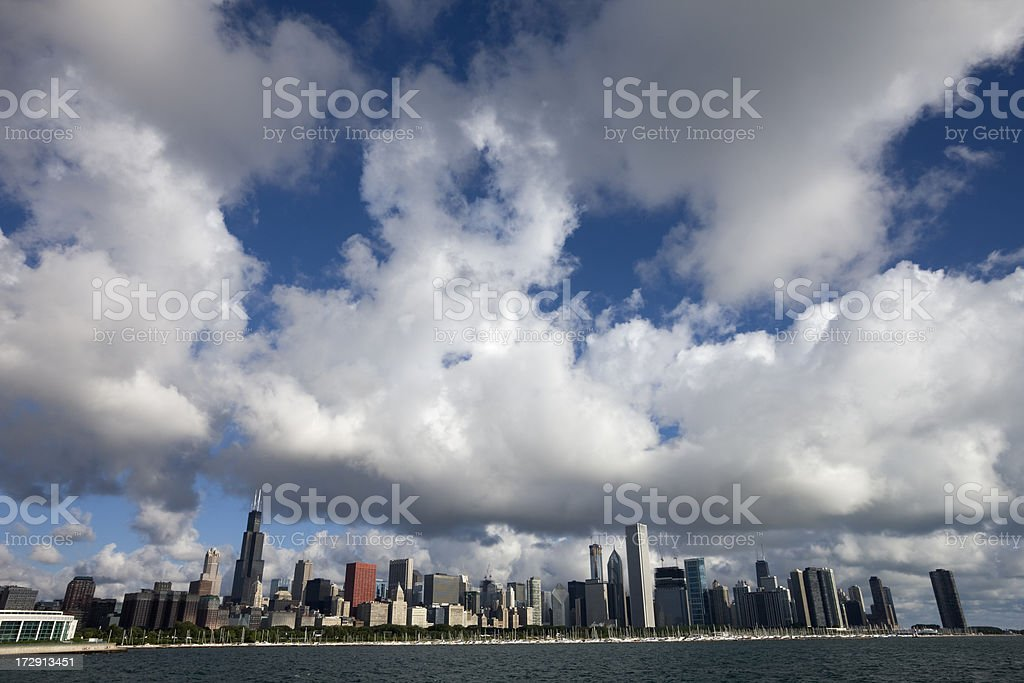 Chicago Skyline with Dramatic Sky royalty-free stock photo