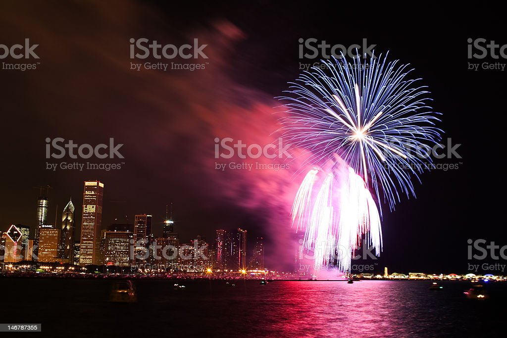 Chicago skyline with fireworks on 4th of July stock photo