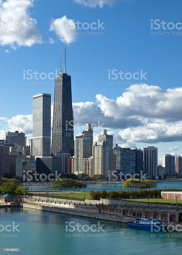 Chicago skyline with Hancock Building royalty-free stock photo