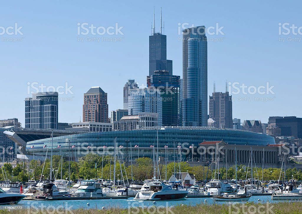 Chicago Skyline with Soldier Field and Sears Tower stock photo