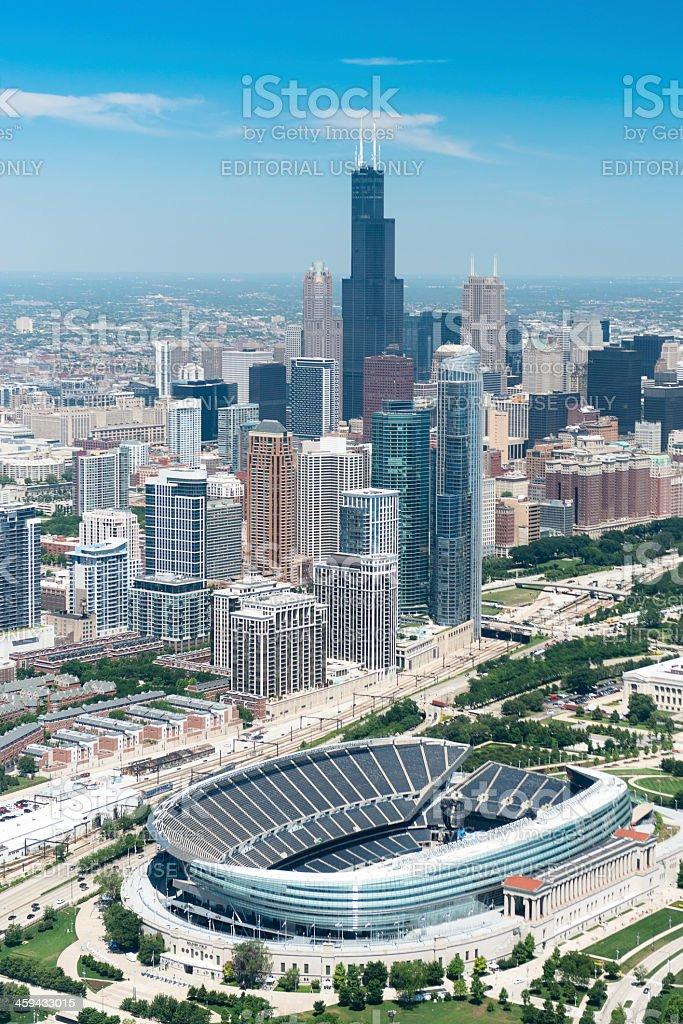 Chicago skyline with Soldier Field stadium stock photo
