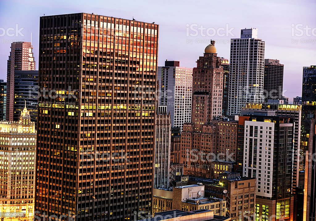 Chicago skyscrapers at sunrise. Equitable Building and Intercont stock photo