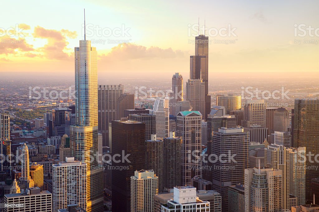 Chicago skyscrapers at sunset stock photo