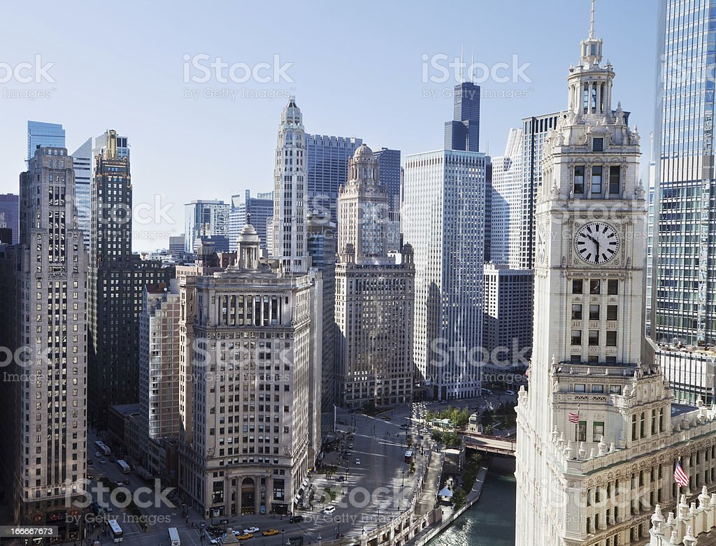 Chicago Skyscrapers on Wacker Drive in The Loop. stock photo